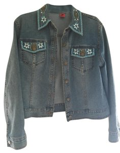 Vera Wang Beaded Turquoise blue with beading Womens Jean Jacket