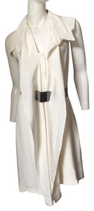Oscar de la Renta White Belted Dress