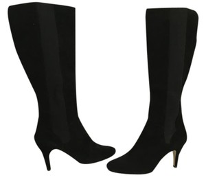 Adrienne Vittadini Full Padded Insoles Full Length Zippers Black suede leather vertical stretch gussets knee Boots