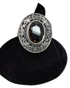 Samual Benham size 8.25. sterling silver, smoky quartz, filigree ring