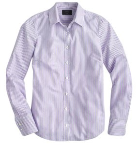 J.Crew Stripe Shirt Long Roll Up Sleeves Button Down Shirt Lilac Stripe