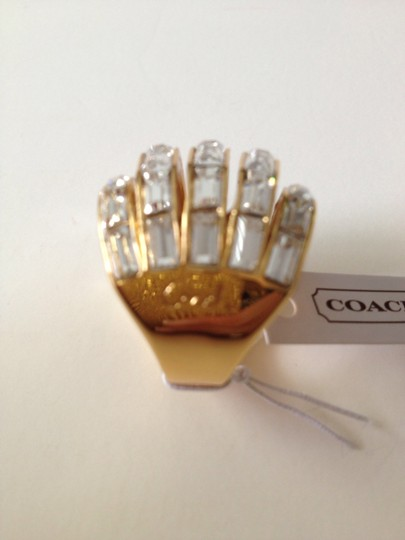 Coach Nwt Coach Gold Tone and Clear Baguette Stones Cocktail Ring Size 6