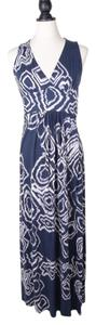 BLUE Maxi Dress by Lauren Vidal Viscose Maxi Long Print