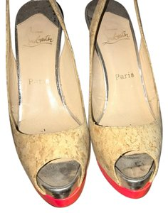 Christian Louboutin cork with pink Platforms