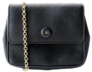 Chanel Vintage Canvas Leather Chain Shoulder Bag