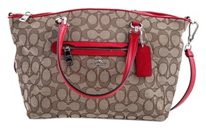 Coach Satchel in beige and red