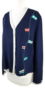 St. John Sport Marie Gray Embroidered Flags Cardigan