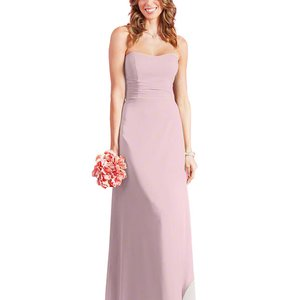Alfred Angelo Ballerina Pink Chiffon 7386l Formal Bridesmaid/Mob Dress Size 4 (S)