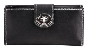 Coach * Coach Turnlock Leather Checkbook Wallet