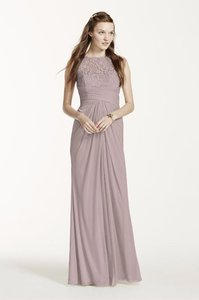 David's Bridal Cameo Sleeveless Long Mesh Dress With Corded Lace F15749 Dress