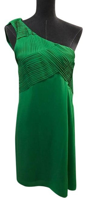 Item - Green Emerald Silk One Shoulder Mid-length Night Out Dress Size 4 (S)