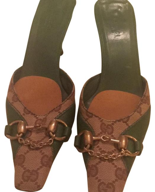 Item - Gg Print Trimmed In Green Leather Mules/Slides Size US 8 Regular (M, B)