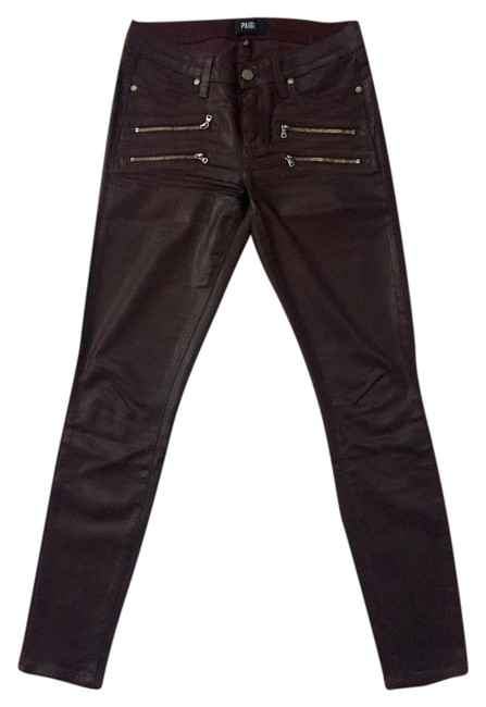 Item - Deep Burgundy Coated Edgemont Zipper Skinny Jeans Size 27 (4, S)
