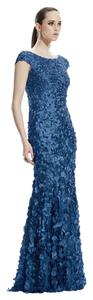 Theia Boatneck Petal Gown Dress