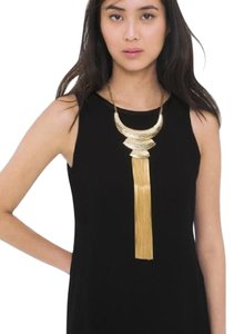 White House | Black Market Hammered Collar Fringe Necklace Goldtone