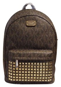 Michael Kors Leather Gold Hardware Pvc Backpack