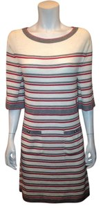 Chanel short dress White, Red, Black Cashmere Wool Striped on Tradesy