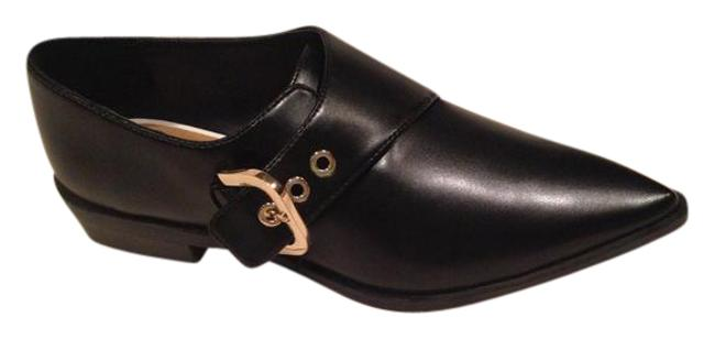 Item - Black with Gold Buckle Pointed Toe Loafers Flats Size US 9.5 Regular (M, B)