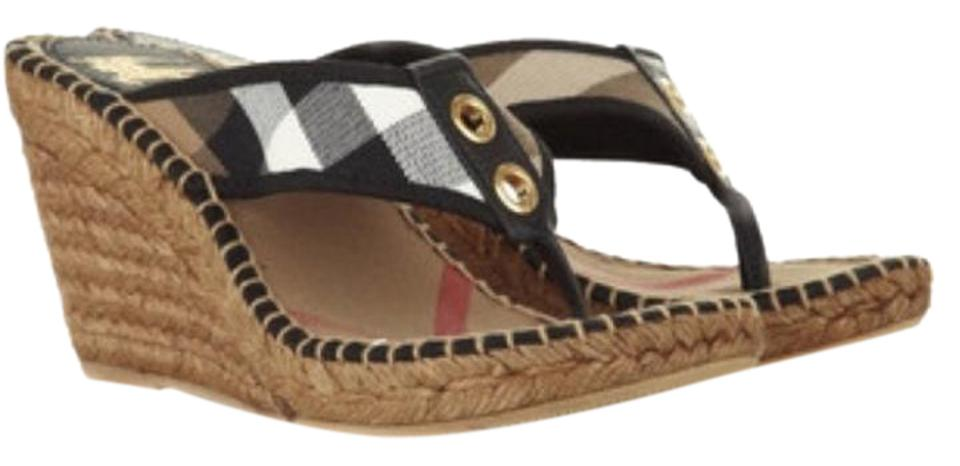 Burberry Black 40 Nova Espadrilles Sandles Uk 40 Black Wedges 4d49b2