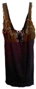 Free People Top olive and brown