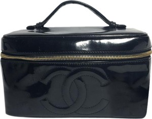 Chanel Authentic Chanel Black Patent Leather CC Cosmetic Bag