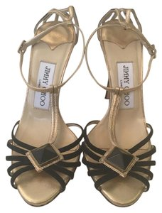 Jimmy Choo Gold and Black Sandals