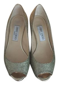 Jimmy Choo Glitter/ sparkle with bronze/ gold wedge Formal