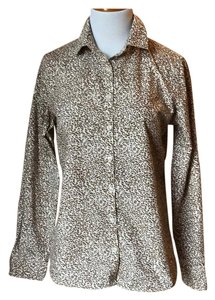 Lands' End Button Down Shirt animal print