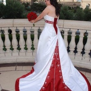 Mori Lee Mori Lee White With Red Accents Halter Wedding Dress Wedding Dress