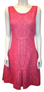 Chanel Red Flared Brocade Dress