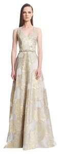 Theia Ball Gown Gown Gold Champagne Belted Dress
