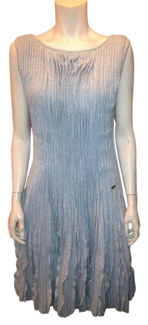 Item - Blue 13c Cruise Knit Pleated Ruffled Cashmere Linen Fr Mid-length Short Casual Dress Size 6 (S)