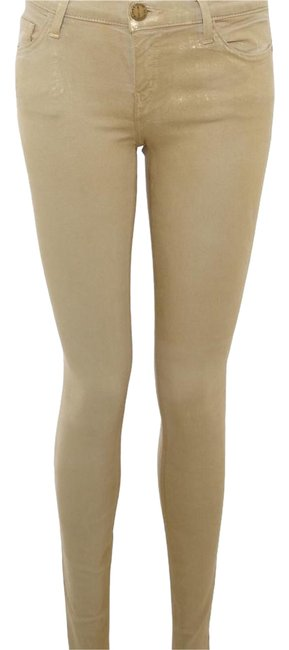 Item - Gold Metallic Coated The Ankle Skinny Jeans Size 26 (2, XS)