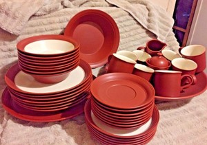 Epoch Rare Shudei (red Clay) Vintage Dinnerware 41 Pieces Set