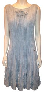 Chanel short dress Blue Pleated Cashmere Linen on Tradesy