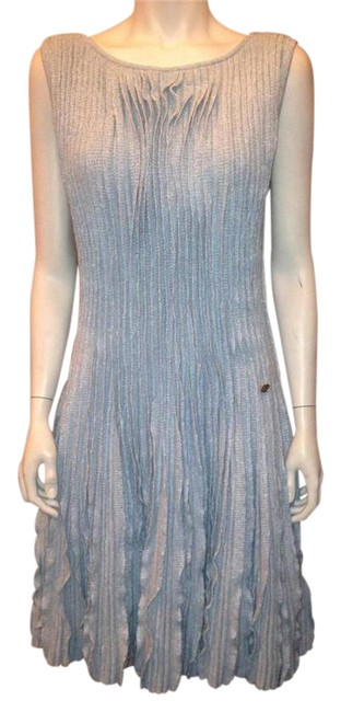 Item - Blue 13c Cruise Knit Pleated Ruffled Cashmere Linen Fr Mid-length Short Casual Dress Size 4 (S)