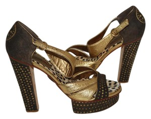 Roberto Cavalli Platform Animal Print Made In Italy Metallic gold/BROWN LEATHER Sandals