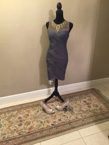 Adrianna Papell Gray And Cream Sheer Top Unknown Dress