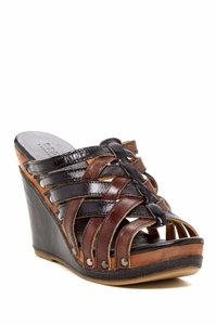 Bed|Stü Gina Woven Wedge Blackteak Rustic Fit Black, brown Sandals