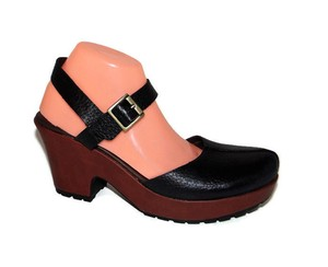 Kork-Ease Korks By Portia Clog Closed Toe Wood Platform Black Sandals