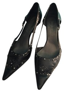 Nine West Studded Silver Hardware Black Pumps