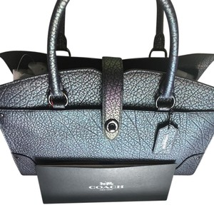 Coach Leather Iridescent Pebbled Leather Satchel in Hologram