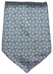 Alfred Dunhill Dunhill Light Blue Repeating Logo Pattern All Silk Designer Necktie Tie Made In England Authentic