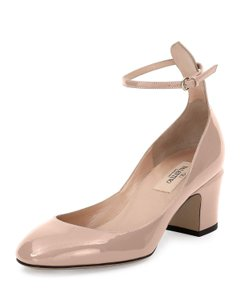 Valentino Patent Ankle Strap Round Toe Nude Pumps