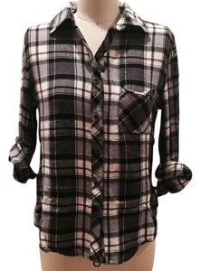 Other Button Down Shirt white/grey/ red