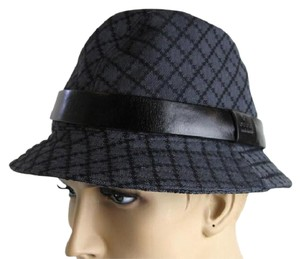 Gucci Gucci Diamante Canvas Fedora Hat Size XL 200036 1160 Black Charcoal