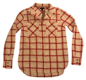 J.Crew Button Down Shirt Red and White