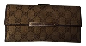 Gucci Gucci GG Beige/Brown Trifold Wallet