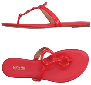 Michael Kors coral patent leather Sandals