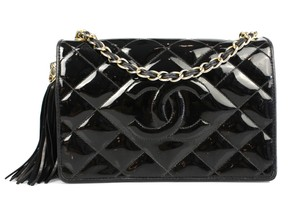 Chanel Vintage Quilted Patent Leather Shoulder Bag